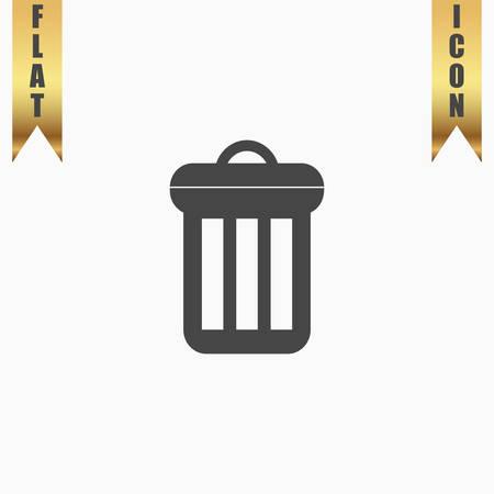 Urn. Flat Icon. Vector illustration grey symbol on white background with gold ribbon