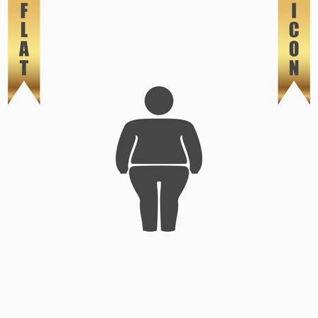 stocky: Overweight man symbol. Flat Icon. Vector illustration grey symbol on white background with gold ribbon