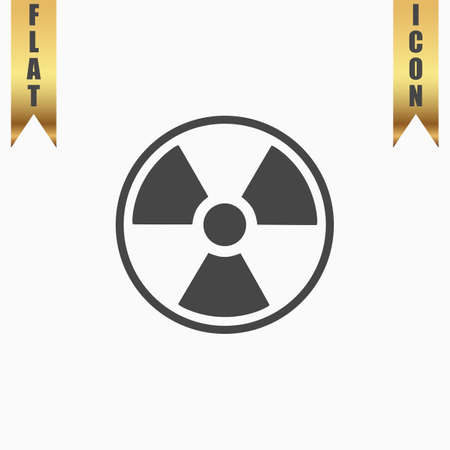 caution chemistry: Radiation Flat Icon. Vector illustration grey symbol on white background with gold ribbon Illustration