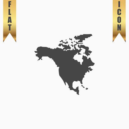 bandera de panama: Mapa Norte América. Icono plana. ilustración vectorial símbolo gris sobre fondo blanco con cinta de oro