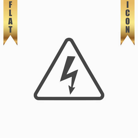 voltage symbol: High voltage Flat Icon. Vector illustration grey symbol on white background with gold ribbon Illustration
