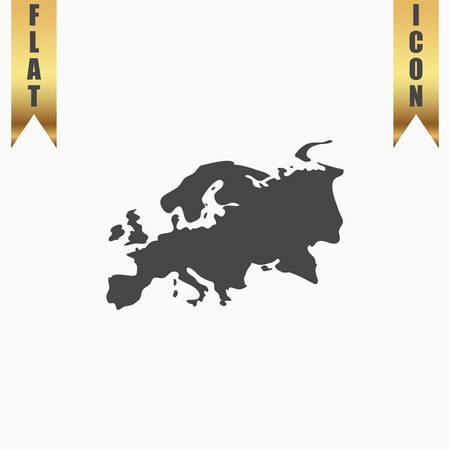 eurasia: Eurasia map. Flat Icon. Vector illustration grey symbol on white background with gold ribbon Illustration