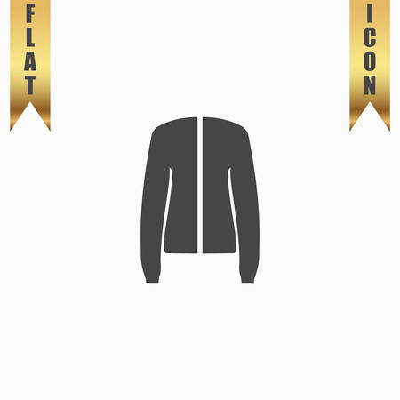 jupe: Jacket. Flat Icon. Vector illustration grey symbol on white background with gold ribbon Illustration
