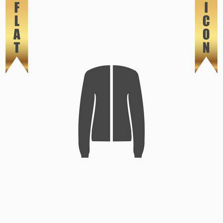Jacket. Flat Icon. Vector illustration grey symbol on white background with gold ribbon Illustration