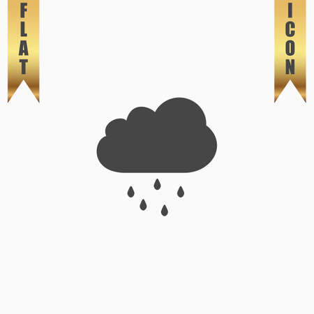 drench: Cloud with rain. Flat Icon. Vector illustration grey symbol on white background with gold ribbon