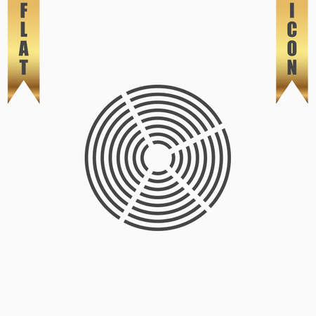 unexplained: Crop Circle. Flat Icon. Vector illustration grey symbol on white background with gold ribbon