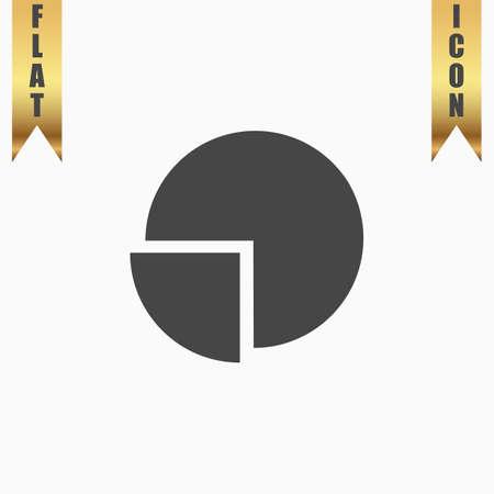 Cirkeldiagram. Flat Icon. Vector afbeelding grijze symbool op een witte achtergrond met gouden lint