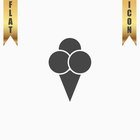 Ice cream. Flat Icon. Vector illustration grey symbol on white background with gold ribbon
