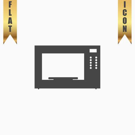 microondas: Horno microondas. Icono plana. ilustración vectorial símbolo gris sobre fondo blanco con cinta de oro
