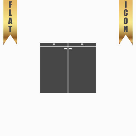 ambry: Cabinet. Flat Icon. Vector illustration grey symbol on white background with gold ribbon Illustration