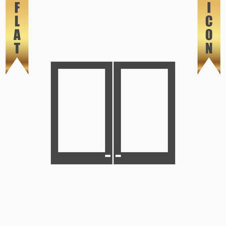 installer: Two plastic Window. Flat Icon. Vector illustration grey symbol on white background with gold ribbon Illustration