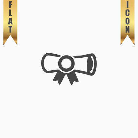 credentials: Diploma. Flat Icon. Vector illustration grey symbol on white background with gold ribbon