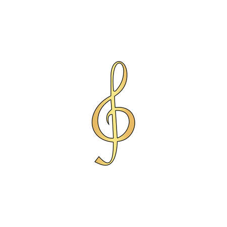 g clef: clef Gold vector icon with black contour line. Flat computer symbol