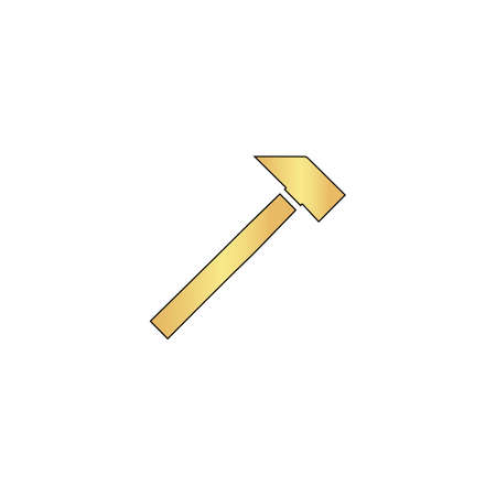 sledgehammer Gold vector icon with black contour line. Flat computer symbol