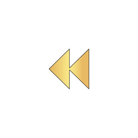 eject icon: rewind  Gold vector icon with black contour line. Flat computer symbol