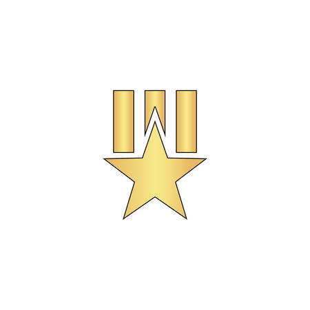 Order star Gold vector icon with black contour line. Flat computer symbol Illustration