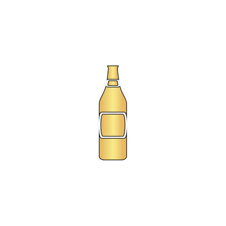 Glass Beer Gold vector icon with black contour line. Flat computer symbol