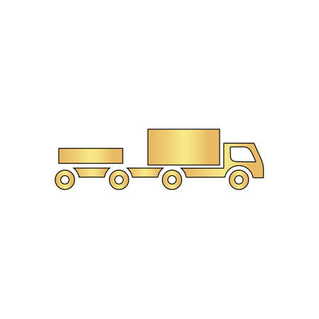 Vehicles Gold vector icon with black contour line. Flat computer symbol