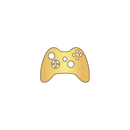 Gamepad Gold vector icon with black contour line. Flat computer symbol Illustration
