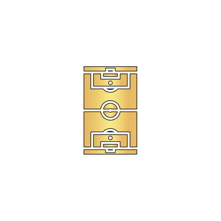 photo realism: football field Gold vector icon with black contour line. Flat computer symbol