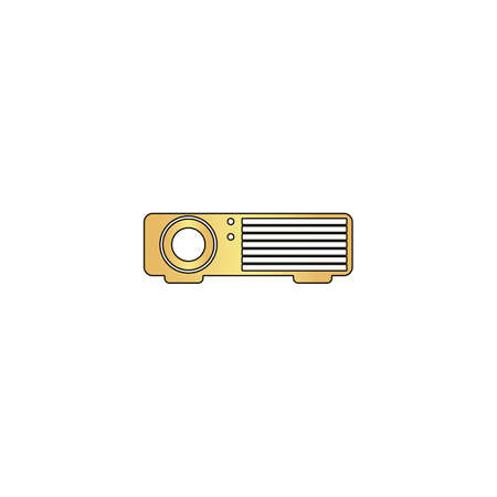Projector Gold vector icon with black contour line. Flat computer symbol Illustration