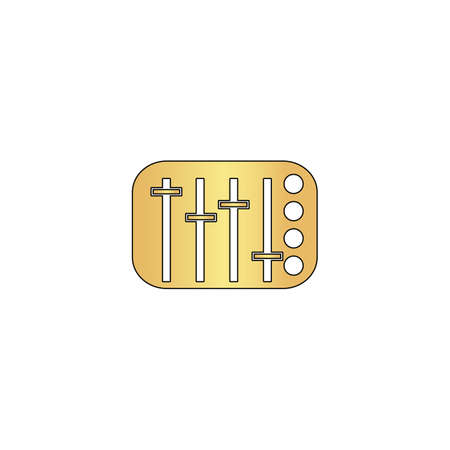sound mixer: Sound Mixer Gold vector icon with black contour line. Flat computer symbol