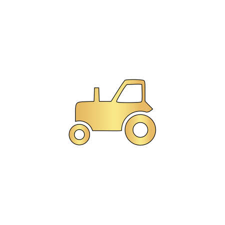 tractor Gold vector icon with black contour line. Flat computer symbol Illustration