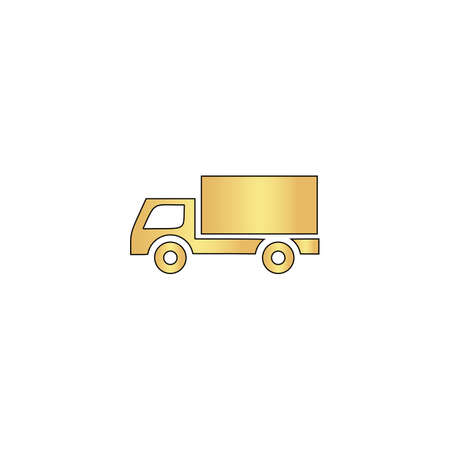 heavy duty: Cargo truck Gold vector icon with black contour line. Flat computer symbol