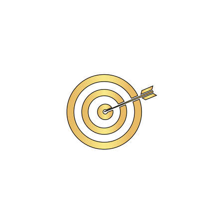 target Gold vector icon with black contour line. Flat computer symbol