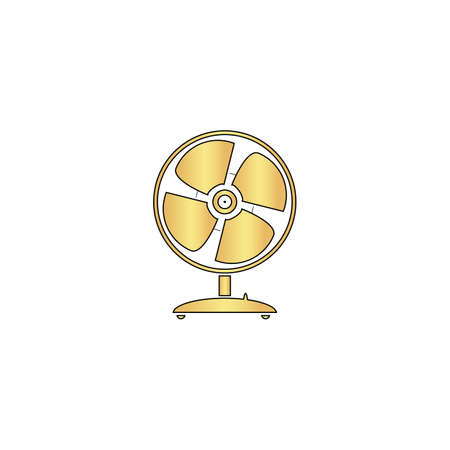 Fan Gold vector icon with black contour line. Flat computer symbol Illustration