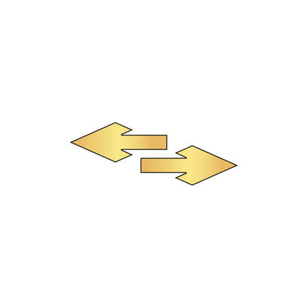 side arrow Gold vector icon with black contour line. Flat computer symbol Illustration