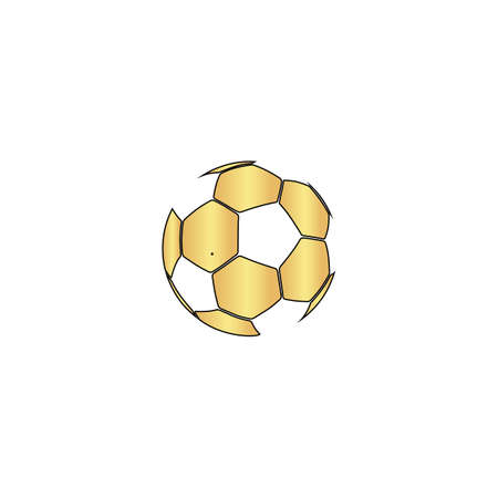 Soccer ball Gold vector icon with black contour line. Flat computer symbol
