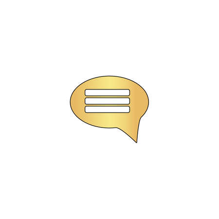 Chat Gold vector icon with black contour line. Flat computer symbol Illustration