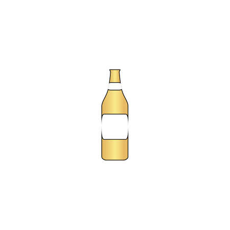 Bottle Gold vector icon with black contour line. Flat computer symbol Illustration