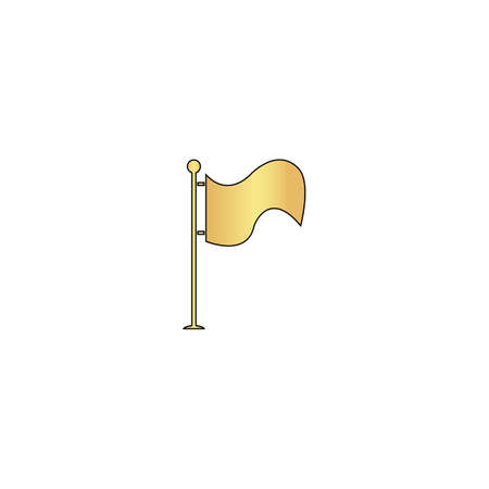 Waving Flag Gold vector icon with black contour line. Flat computer symbol