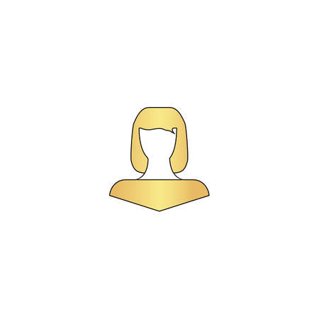 Girl head Gold vector icon with black contour line. Flat computer symbol Illustration