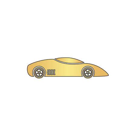 sport car Gold vector icon with black contour line. Flat computer symbol Illustration