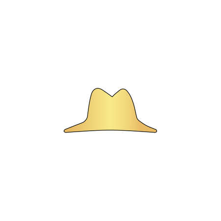 hat Gold vector icon with black contour line. Flat computer symbol