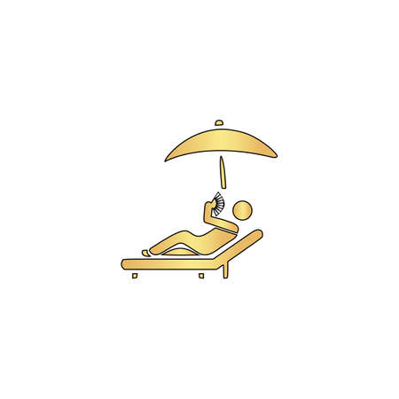 to sunbathe: Relax Gold vector icon with black contour line. Flat computer symbol Illustration