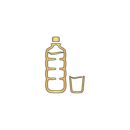 Plastic bottle Gold vector icon with black contour line. Flat computer symbol