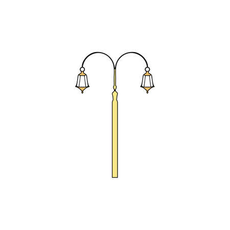 Street Light Gold vector icon with black contour line. Flat computer symbol