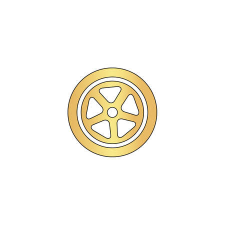 wheel Gold vector icon with black contour line. Flat computer symbol