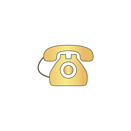 old telephone Gold vector icon with black contour line. Flat computer symbol