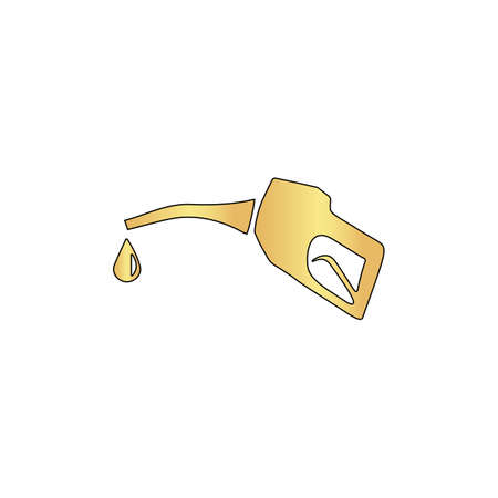 Gasoline pump nozzle Gold vector icon with black contour line. Flat computer symbol Illustration