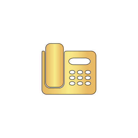 parley: Office Phone Gold vector icon with black contour line. Flat computer symbol