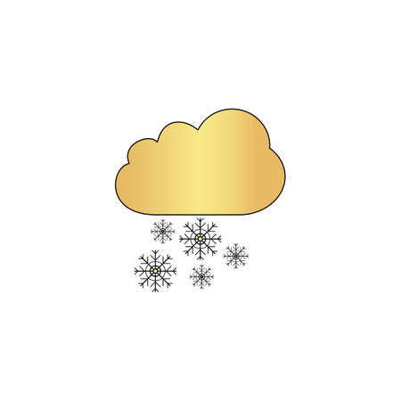 snowfall Gold vector icon with black contour line. Flat computer symbol