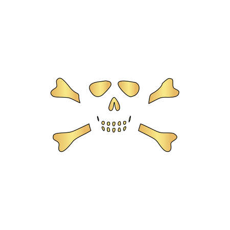 skull and crossbones: Skull crossbones Gold vector icon with black contour line. Flat computer symbol