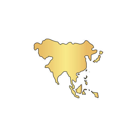 Asia Gold vector icon with black contour line. Flat computer symbol Illustration