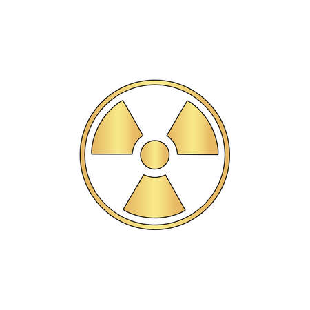caution chemistry: Radiation Gold vector icon with black contour line. Flat computer symbol Illustration