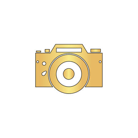 Camera Gold vector icon with black contour line. Flat computer symbol